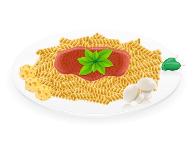 pasta op een plaat vectorillustratie vector