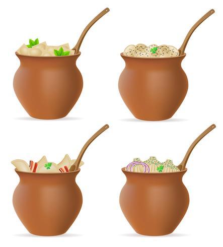 dumplings van deeg met een vulling en greens in klei pot stel pictogrammen vectorillustratie vector