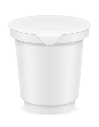 witte plastic container yoghurt of ijs vectorillustratie vector