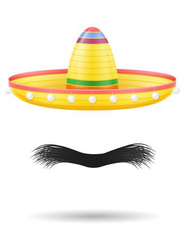 Sombrero nationale Mexicaanse hoofdtooi en snor vectorillustratie vector