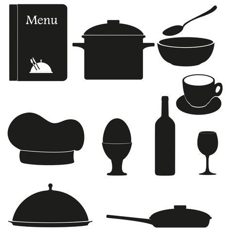 stel keuken pictogrammen voor restaurant koken vectorillustratie zwart silhouet vector