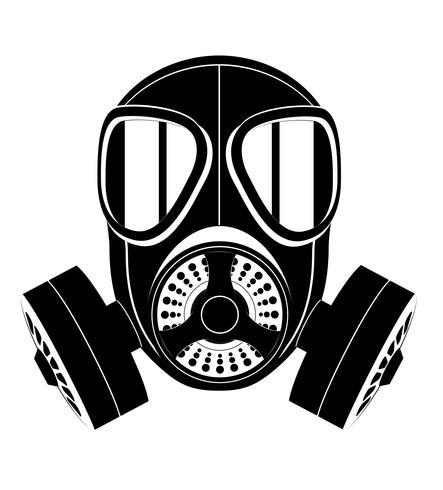 pictogram gasmasker zwart en wit vectorillustratie vector