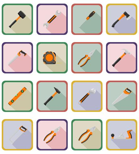 reparatie en bouwgereedschap plat pictogrammen vector illustratie