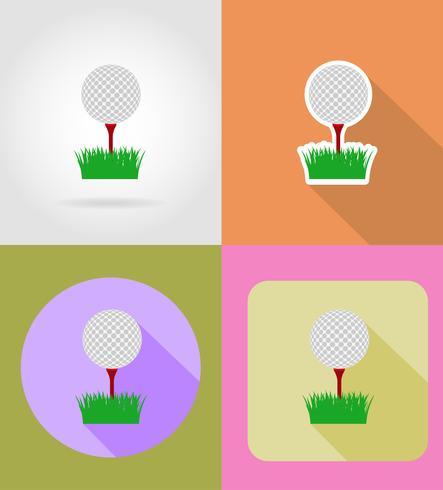 golfbal plat pictogrammen vector illustratie