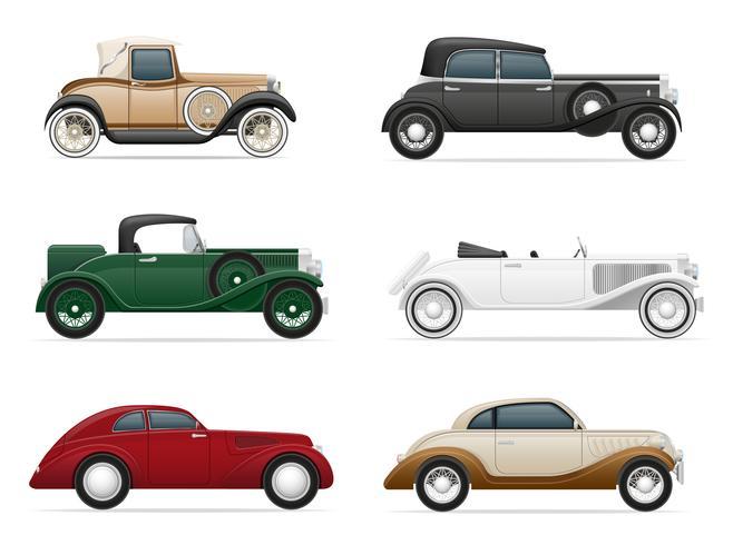 stel pictogrammen oude retro auto vectorillustratie vector