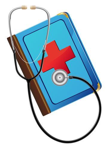 medisch boek en stetoskop vector