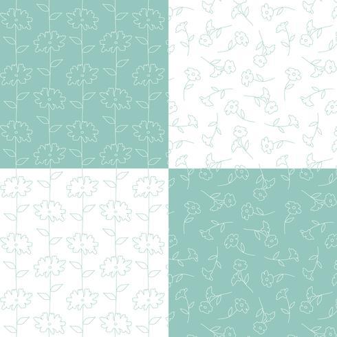 aqua blauwe groene en witte botanische bloemenpatronen vector