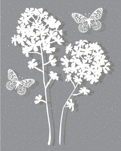 wit grijze botanische vector grafische plaatsing