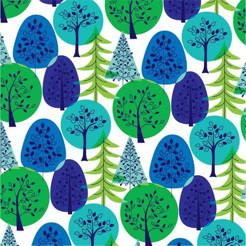 blauwgroen overlappend bomenpatroon vector
