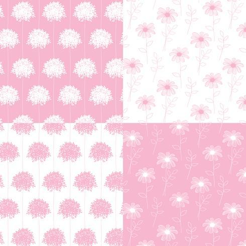 witte en roze hand getekend botanische bloemenpatronen vector