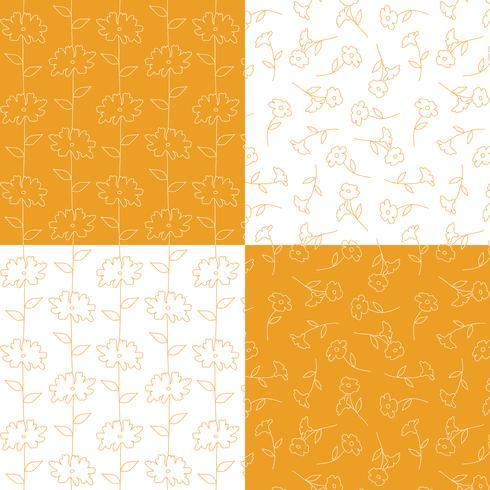 oranje en witte botanische bloemenpatronen vector