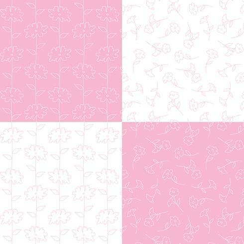 roze en witte botanische bloemenpatronen vector