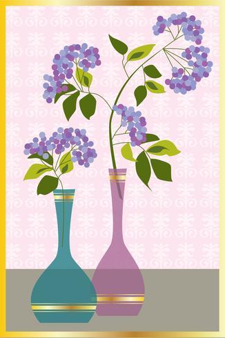 paarse bloemen in vazen vector grafische plaatsing