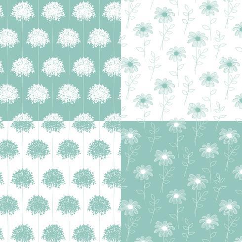 witte en aqua blauwgroene hand getekend botanische bloemenpatronen vector