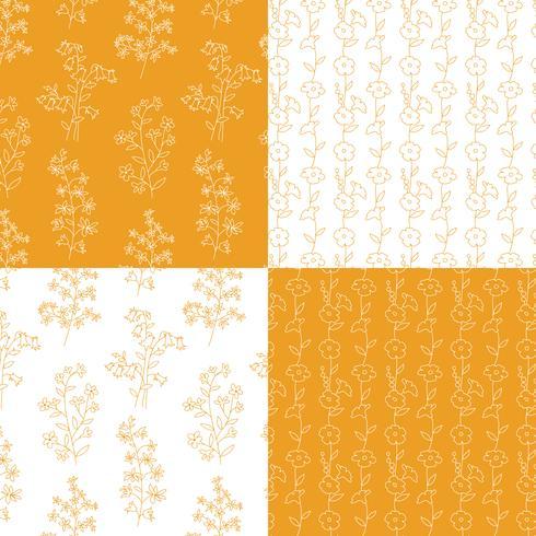 oranje en witte hand getekend botanische bloemenpatronen vector