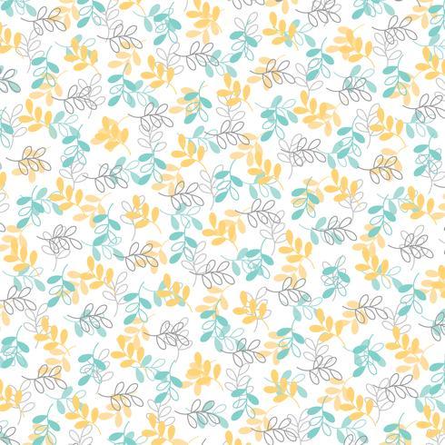 blauw geel grijs bladpatroon vector