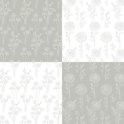 grijs en wit hand getekend botanische patronen vector