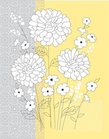 geel grijze bloemen vector grafische plaatsing