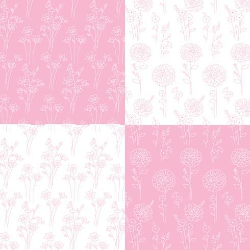 roze en witte hand getrokken botanische patronen vector