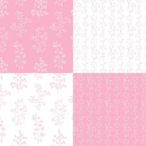 roze en witte hand getekend botanische bloemenpatronen vector