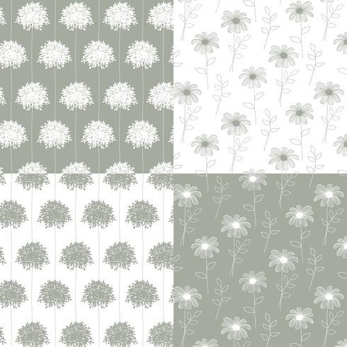 witte en grijze hand getekend botanische bloemenpatronen vector
