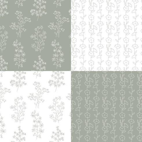 grijs en wit hand getekend botanische bloemenpatronen vector
