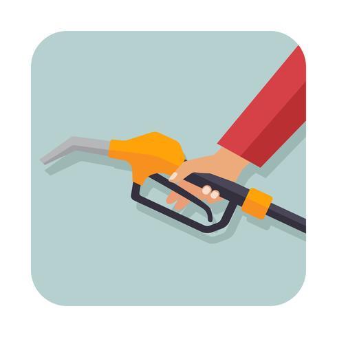 hand met benzine pistool pomp brandstof mondstuk vector