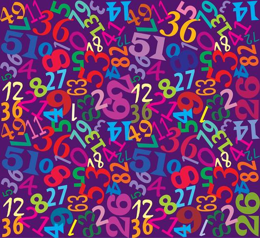 Aantallen naadloze veelkleurige achtergrond vector