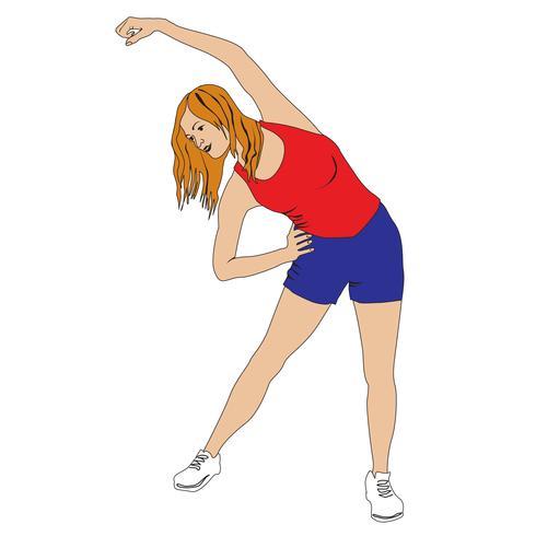 Elegant vrouwensilhouet die geschiktheidsoefening doen. Fitnessclubmeisje vector