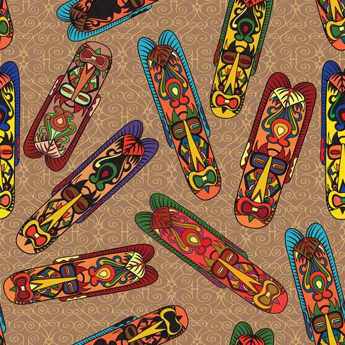 Etnisch naadloos patroon, stammenstijl. Afrikaanse masker betegelde achtergrond. vector
