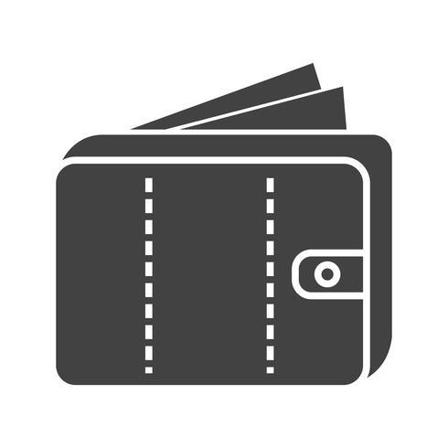 Geld in portemonnee Glyph Black pictogram vector