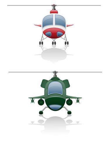 stel pictogrammen helikopter vectorillustratie vector