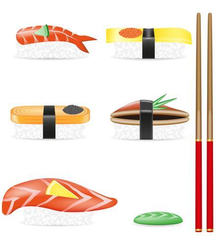 sushi stel pictogrammen vector illustratie