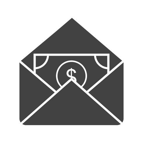 contant ontvangend Glyph Black-pictogram vector