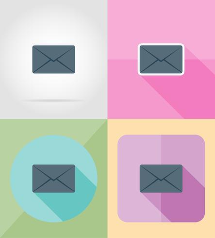 mail brief voor ontwerp plat pictogrammen vector illustratie