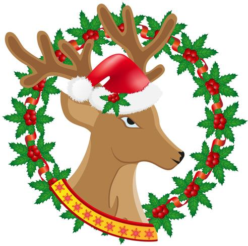 Kerstmis herten krans van hulst bessen vector illustratie