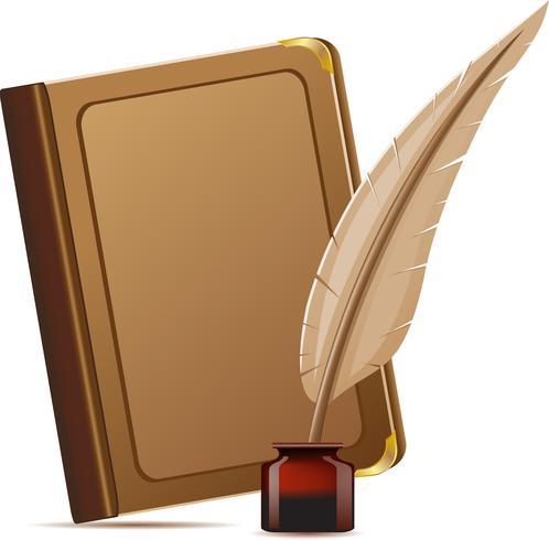 boek en veren met inkten vector