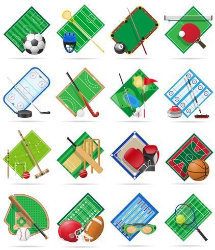 hof speelplaats stadion en veld instellen voor sport games platte iconen vectorillustratie vector