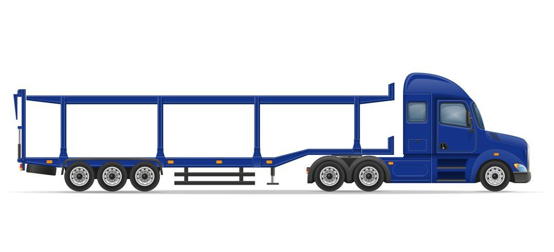 vrachtwagen oplegger voor transport van auto vectorillustratie vector