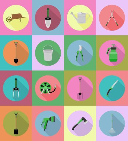 tuingereedschap platte iconen vectorillustratie vector