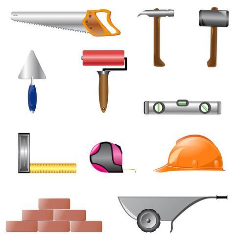 iconen van het bouwen van instrumenten vector