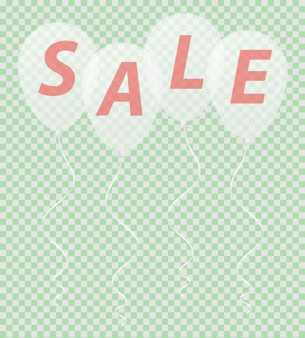transparante witte ballonnen met de inscriptie verkoop vectorillustratie vector