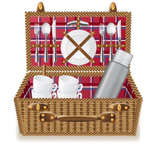 mand voor een picknick met servies vector