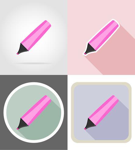markering briefpapier apparatuur instellen plat pictogrammen vector illustratie