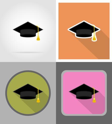 afgestudeerde hoed plat pictogrammen vector illustratie