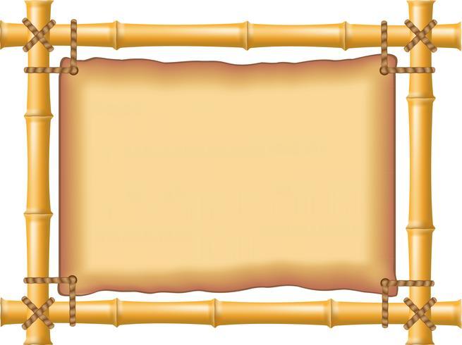 frame gemaakt van bamboe en oud perkament vector