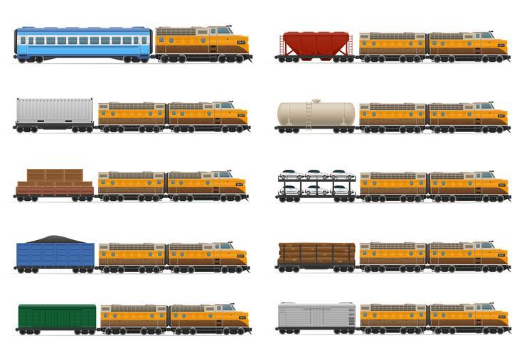 stel pictogrammen spoorwegtrein met locomotief en wagens vectorillustratie vector