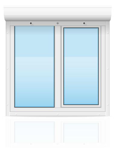 kunststof venster met glooiende rolluiken vectorillustratie vector