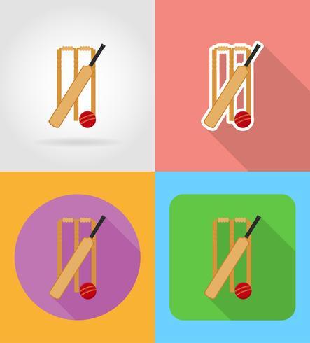 set apparatuur voor cricket plat pictogrammen vector illustratie