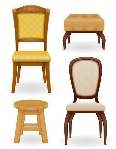 set pictogrammen meubels stoel kruk en poef vectorillustratie vector